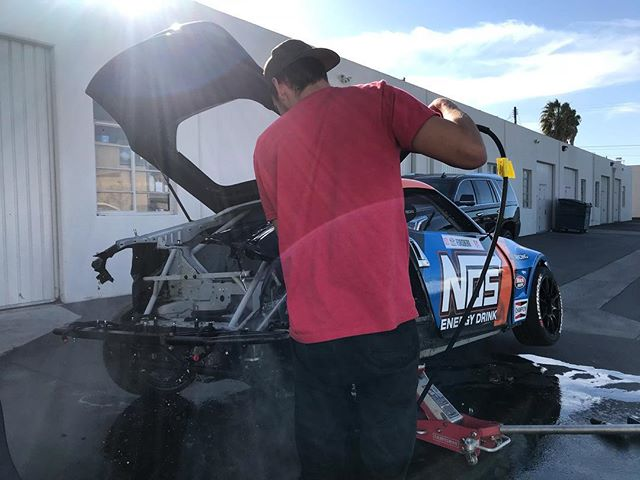 @dylanhughes129 and I tore the back end of my Formula Drift 370Z and pressure washed it top to bottom so we have a clean slate for remounting all of the components.