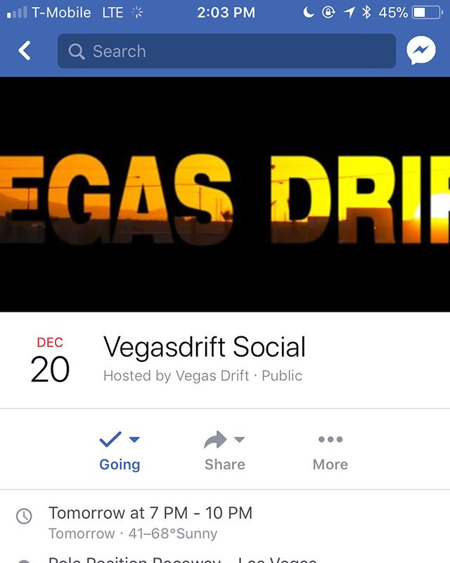 whats good people. if youre a vegas local or happen to be in town, make sure you make it out to the @vegasdrift end of the year social at Pole Position at 7 pm tomorrow night. @nickdizon @driffraffclothingco mando and everybody else involved work really hard all year to give us awesome events. lets show them some support tomorrow night! All info listed in second photo. see you guys out there. 🤙🏻