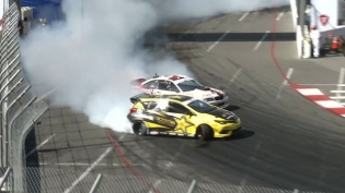 A Little Love Bump between @fredricaasbo & @hgkracingteam . It's All Love Right? Happy #ValentinesDay See you all for our 15th Year Anniversary starting at The Streets of Long Beach! Tickets: bit.ly/FDLB2018 #FormulaDRIFT #FormulaD #FDXV #FDLB
