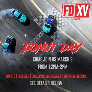ATTN: #FDLB Fans - Join us for DONUT DAY. March 3rd 12-2PM at Long Beach Convention Center. Free #FDXV Posters | Stickers | Donuts | Pro Driver Appearances! Purchase your FD Tickets with No Ticket Master Fees! If you buy a Saturday ticket, we will give you a FREE Friday ticket! Register Here: bit.ly/FDDonutDay2018 #FormulaDRIFT #FormulaD #FDXV