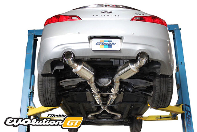 GReddy for the 2008-14 - dual 63.5mm to dual 76mm Y-back sport exhaust.  P/N 10128304 - Swipe Right to take a listen...