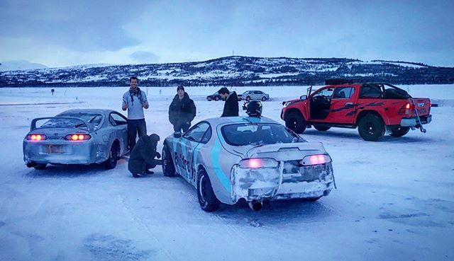 Two Supras, one rescue rig, a frozen lake = recipe for a good time!