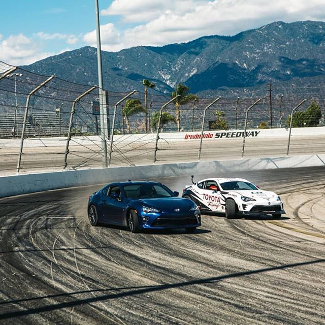 Two racing worlds sliding side-by-side! @falkentire's @kengushi shows NASCAR driver @erik_jones how to drift! See the full video on our Facebook page.  RD1: The Streets of Long Beach on Apr 6-7 Tickets Here: bit.ly/FDLB2018 (link in bio)