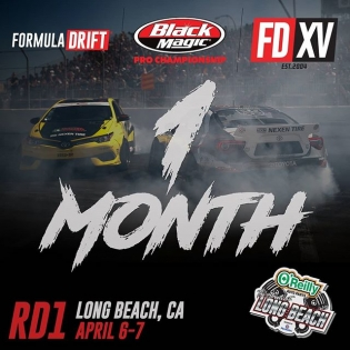 We are 1 Month until Season Start of our 15 Year Anniversary! Tag a friend you are coming with! RD1: Streets of Long Beach on Apr 6-7th. Tickets on sale now: bit.ly/FDLB2018 #FormulaDrift #FormulaD #FDXV #FDLB