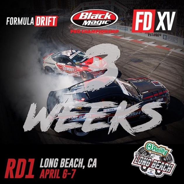 We are 3 Weeks away from of 15 Year Anniversary Season Opener at The Streets of Long Beach! Tag a friend you are coming with! Ticket available: bit.ly/FDLB2018 (link in bio) #FormulaDRIFT #FormulaD #FDLB #FDXV