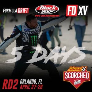 Are you ready!? 5 days until RD2: Scorched in Orlando, FL! April 27-28. Tickets link in our bio. #FormulaDRIFT #FormulaD #FDXV #FDORL