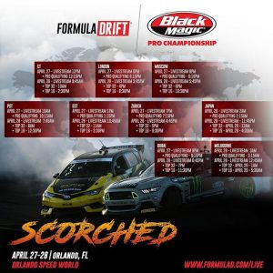 Attention fans! Don't miss out on the action and find who will qualify first here at @advanceautoparts Round 2 - Scorched presented by Fast Orange @permatexusa in Orlando Speed World. Here are the livestream times. Save it, share it, and ️end it!!! #FormulaDRIFT #FormulaD #FDXV #FDORL