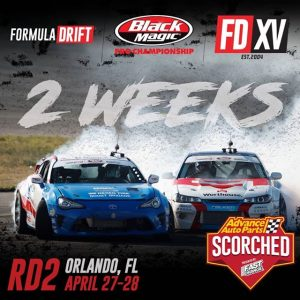 Can you feel the heat!? We're only 2 weeks away from RD2: Scorched in Orlando, FL on April 27-28. Get your tickets now! Link in our bio. #FormulaDRIFT #FormulaD #FDXV #FDORL
