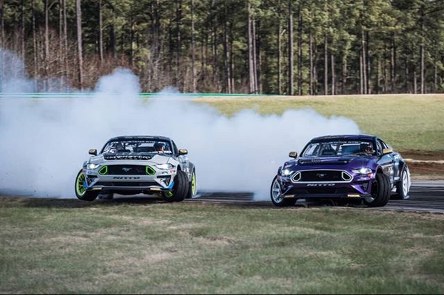 Double The Fun-Having!  @ChelseaDeNofa and @VaughnGittinJr are ready with their new @NittoTire 2018 Ford @MustangRTR Spec 5-Ds!  Watch them on The Streets of Long Beach Livestream, April 6-7 (link in our bio)