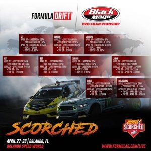 Drift Meets World 🌎 Wherever you will be, catch @advanceautoparts RD2: Scorched Presented by Fast Orange by @permatexusa in Orlando, FL on April 27-28 on the Livestream! #FormulaDRIFT #FormulaD #FDXV #FDORL
