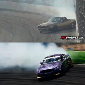 Hard to believe that these photos are 13 years apart at OSW. Same driver, same wall ride, same amount of fun. Drifting Never gets old.