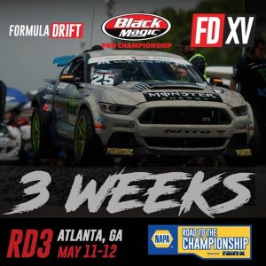 It's never too early to plan a visit to the ATL! 3 weeks until RD3: Road to the Championship on May 11-12. Get your tickets now! #FormulaDRIFT #FormulaD #FDXV #FDATL