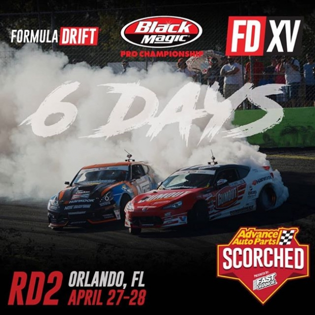 It's the freakin' weekend and we're only 6 days away from RD2: Scorched! We'll see you in Orlando, FL on April 27-28. Get your tickets in the link in our bio. #FormulaDRIFT #FormulaD #FDXV #FDORL