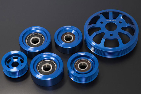 Light-weight, billet duralumin GReddy Pulley Kits for the -  Available in Full 7 piece Aluminum engine pulley kit includes: Alternator pulley, Water Pump pulley, Tensioner pulley, 2x No.1 Idler pulley and 1x no.2 Idler pulley.  Or standard 2 piece kit, which includes the popular Alternator and Water Pump pulleys.  Contact your favorite Authorized Dealer for more details and purchasing…