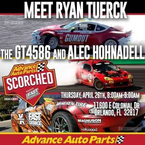 Orlando: Here is your chance to Meet @nexentireusa 's @RyanTuerck & @Alechohnadell! This Thursday - Apr 26th! Catch them in action at @AdvanceAutoParts RD2: Scorched presented by Fast Orange by @permatexusa - Apr 27/28th! Tickets: (link in bio) #FormulaDRIFT #FormulaD #FDXV #FDORL