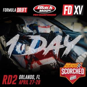 Round 2, FIGHT! Tomorrow's the day! @advanceautoparts RD2: Scorched Presented by Fast Orange by @permatexusa in Orlando, FL from April 27-28. Tickets link in our bio. #FormulaDRIFT #FormulaD #FDXV #FDORL