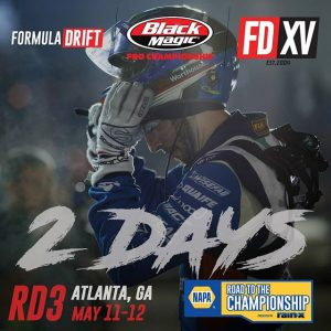 Get ready to suit up, we're only 2 days away! NAPA Auto Parts RD3: Road to the Championship presented by @officialrainx in Atlanta, GA on May 11-12. Tickets link in our bio. #FormulaDRIFT #FormulaD #FDXV #FDATL