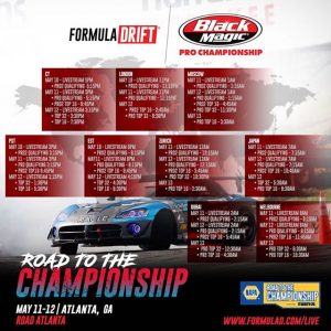 Get with the Livestream times! NAPA Auto Parts RD3: Road to the Championship presented by @officialrainx Save it, share it and ️end it! View at formulad.com/live #FormulaDRIFT #FormulaD #FDXV #FDATL