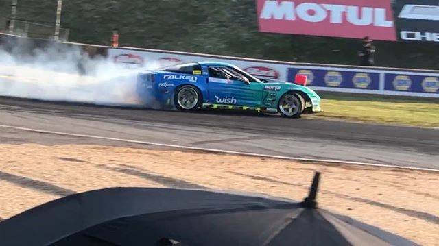 Had a decent first qualifying run, but didn't get to do the second because the front main seal blew out at the end of the first lap. Car is fixed and ready for battle today!  @falkentire  @wish  @borlaexhaust  @heatwavevisual