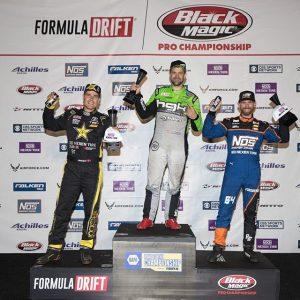 Here is your Round 3 podium finishers! 1) @hgkracingteam | @achillestire 2) @fredricaasbo | @nexentireusa 3) @chrisforsberg64 | @nexentireusa #FormulaDRIFT #FormulaD #FDXV #FDATL