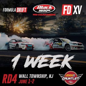 Keepin' it 100! We're a week away from the 100th FD Round! @advanceautoparts RD4: The Gauntlet presented by @blackmagicshine at Wall, NJ on June 1-2. Tickets link in our bio. #FormulaDRIFT #FormulaD #FDXV #FDNJ #FD100