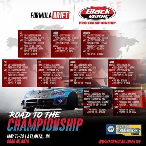 Livestream times for @formulad Atlanta this weekend! #fdatl #drifting #formulad #formuladrift