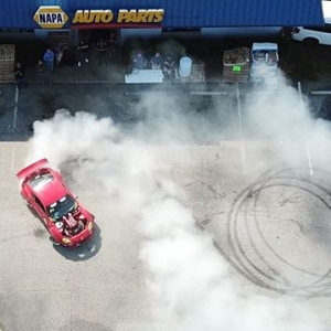 NAPA Auto Parts Burn out with @ryantuerck & @alechohnadell of @nexentireusa to get you warmed up for RD3: Road to the Championship. May 11-12th! Tickets: Link in Bio Live Stream: formulad.com/live #FormulaDRIFT #FormulaD #FDXV #FDATL
