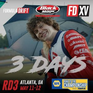 Smile! Only 3 days until Round 3! NAPA Auto Parts RD3: Road to the Championship presented by @officialrainx in Atlanta, GA on May 11-12. Tickets link in our bio. #FormulaDRIFT #FormulaD #FDXV #FDATL