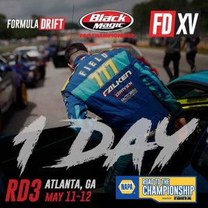 Tomorrow, we're back in action! NAPA Auto Parts RD3: Road to the Championship presented by @officialrainx in Atlanta, GA on May 11-12. Tickets link in our bio. #FormulaDRIFT #FormulaD #FDXV #FDATL