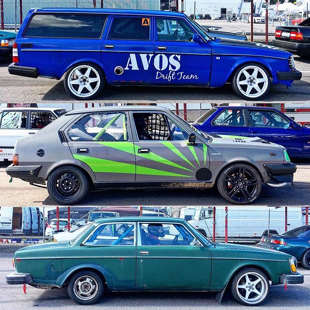 """A few of the less traditional (to us in North America) Volvo drift cars running in the open drift """"freeriding"""" classes at @gatebil_official."""