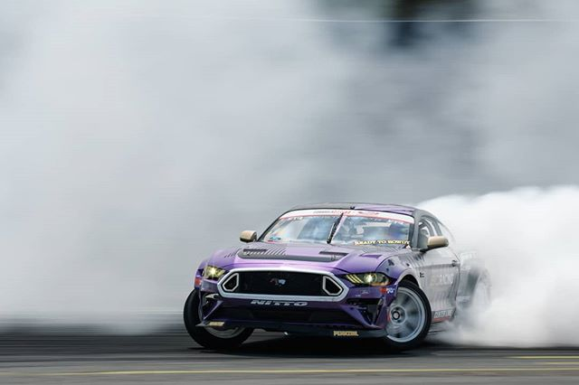 Cloudy with a chance of Mustang @chelseadenofa | @nittotire  More drift clouds at @autozone RD5: Showdown presented by @officialrainx in Monroe, WA on July 20-21. Ticket: link in bio