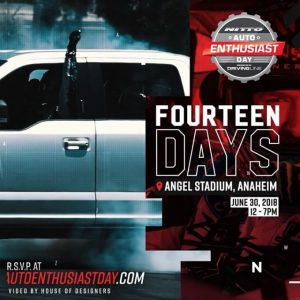 It's back! The 6th annual Auto Enthusiast Day presented by @nittotire. Saturday, June 30th at Angel Stadium of Anaheim from 12pm - 7pm. The show is FREE for all spectators and will include a variety of activities, such as drifting and off-road demonstrations, a vendor midway featuring automotive products and giveaways, food trucks and much more. www.autoenthusiastday.com #FormulaDRIFT #FormulaD #FDXV #autoenthusiastday