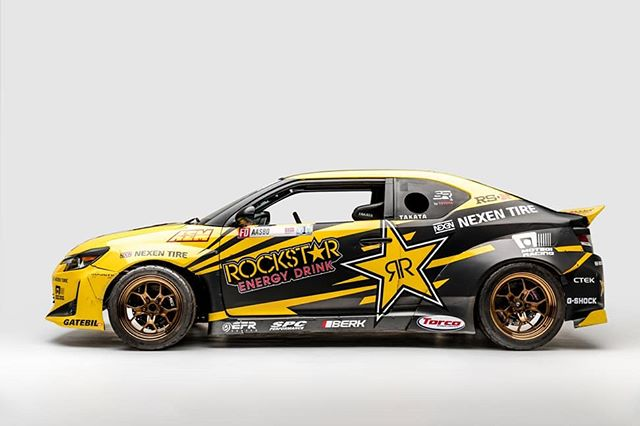 On display now at the @petersenmuseum - @stephpapadakis 2015 championship winning Scion tC  Catch @fredricaasbo   @nexentireusa at the next round: @autozone RD5: Showdown presented by @officialrainx in Monroe, WA on July 20-21. Ticket: Link in bio