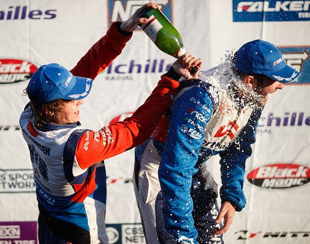 @jamesdeane130 enjoying a cold champagne shower.  📸@larry_chen_foto