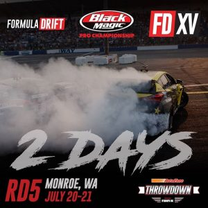 How happy are you that we're only 2 days away! Comment with an emoji! @AutoZone RD5: Throwdown presented by @OfficialRainX in Monroe, WA on July 20-21. Tickets: Link in bio #FormulaDRIFT #FormulaD #FDXV #FDSEA