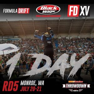 Let's Party! Tomorrow is @AutoZone RD5: Throwdown presented by @OfficialRainX in Monroe, WA on July 20-21. Tickets: Link in bio. #FormulaDRIFT #FormulaD #FDXV #FDSEA