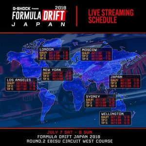 Livestream times for @formuladjapan. Qualifying starts at Midnight Friday on the East Coast of the US and 9pm on the West Coast. #fdjapan #formuladrift #formulad #drifting