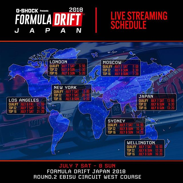 Livestream times for @formuladjapan. Qualifying starts at Midnight Friday on the East Coast of the US and 9pm on the West Coast.