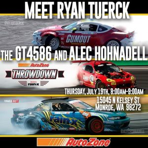 Meet @ryantuerck with his GT4586 & @alechohnadell this Thursday at AutoZone in Monroe - 150 N Kelsey St., Monroe, WA 98272. July 19th - 8-9AM Only! Watch them compete July 20-21 at RD5: Throwdown! Tickets: (link in bio) #FormulaDRIFT #FormulaD #FDXV #FDSEA