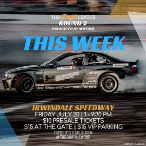 RD 2 of @TheDriftLeague presented by @motoiq is right around the corner. An exciting ProAm drift competition will be taking place at The House of Drift as drivers compete for their FormulaDRIFT PRO2 licenses. Tickets: $10 today: TheDriftLeague.com #TheDriftLeague #MotoIQ #FormulaDRIFT #FormulaD #IrwindaleSpeedway