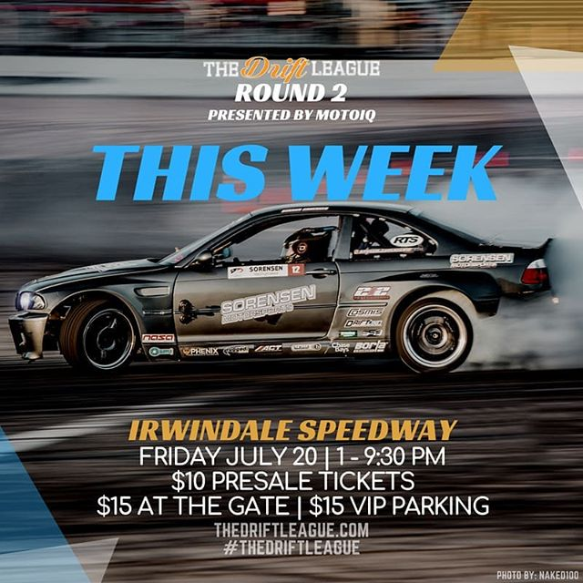 RD 2 of @TheDriftLeague  presented by @motoiq  is right around the corner. An exciting ProAm drift competition will be taking place at The House of Drift as drivers compete for their FormulaDRIFT PRO2 licenses.  Tickets: $10 today: TheDriftLeague.com