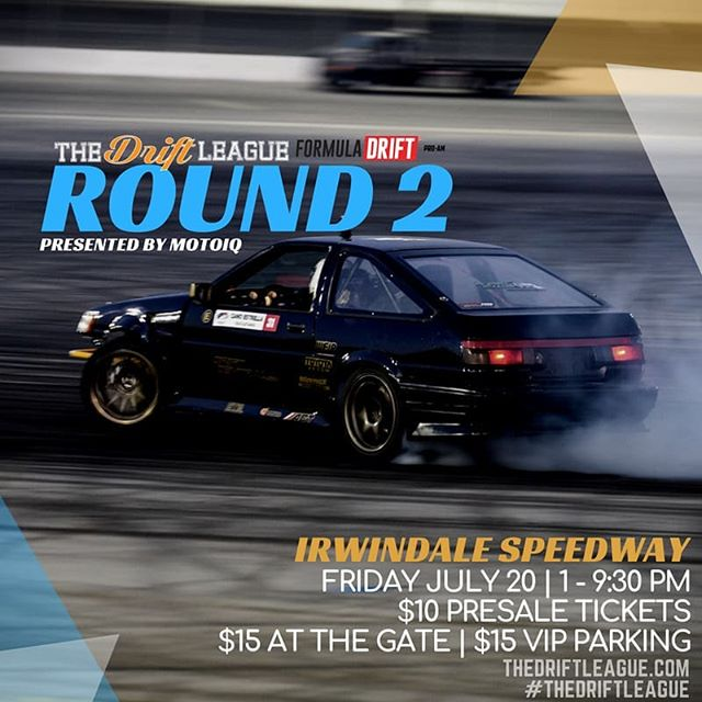Round 2 of @TheDriftLeague presented by @motoiq | July 20th!  Tickets are now on sale for only $10 - come out and watch the next generation of PRO2 drivers battle it out at The House of Drift. Visit TheDriftLeague.com for more info.