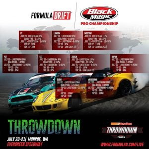 Tune in for qualifying on July 20 at 1PM PST/4PM EST and competition on July 21 at 12:45PM PST/3:45 PM EST Watch the livestream for @AutoZone RD5: Throwdown presented by @OfficialRainX in Monroe, WA on July 20-21. Tickets: Link in bio #FormulaDRIFT #FormulaD #FDXV #FDSEA