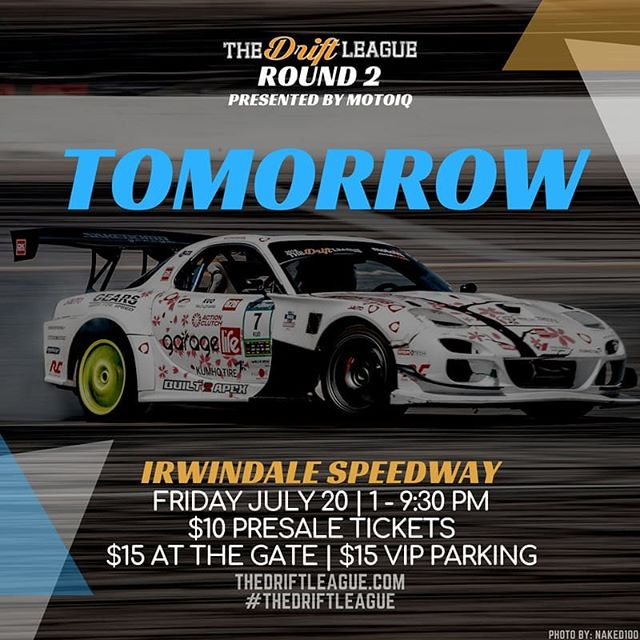 What are your Friday plans? Sounds like @TheDriftLeague presented by @motoiq  is going to be a good time at the House of Drift tomorrow. Watch drivers as they compete for their FormulaDRIFT PRO2 licenses. Today is the last chance to purchase discounted tickets online for $10 - the price goes up to $15 at the gate.  Visit TheDriftLeague.com for more info!