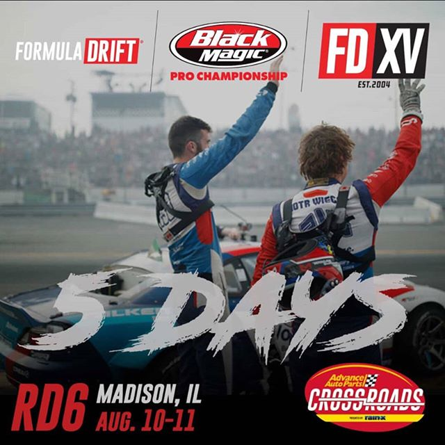 Count it. Five 'til we go live!  Watch all the drifting battles at @advanceautoparts RD6: Crossroads presented by @officialrainx  in Madison, IL. on Aug 10-11.Tickets: (link in bio)
