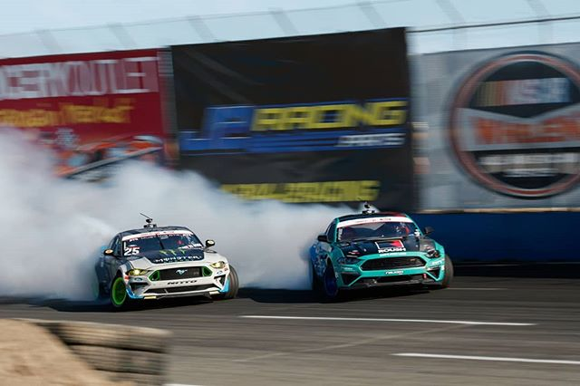 Will we see more 'Stang battles!? @vaughngittinjr | @nittotire vs. @JustinPawlak13 | @falkentire  Slide into @AdvanceAutoParts RD6: Crossroads presented by @OfficialRainX in Madison, IL. on Aug 10-11. Tickets: (link in bio)