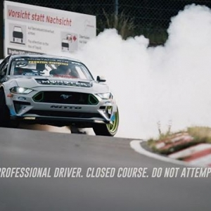 @vaughngittinjr is the first person to drift the Nordschleife at the Nürburgring. Watch his 900 horsepower @fordperformance @mustangrtr in action! #FormulaDRIFT #FormulaD #FDXV