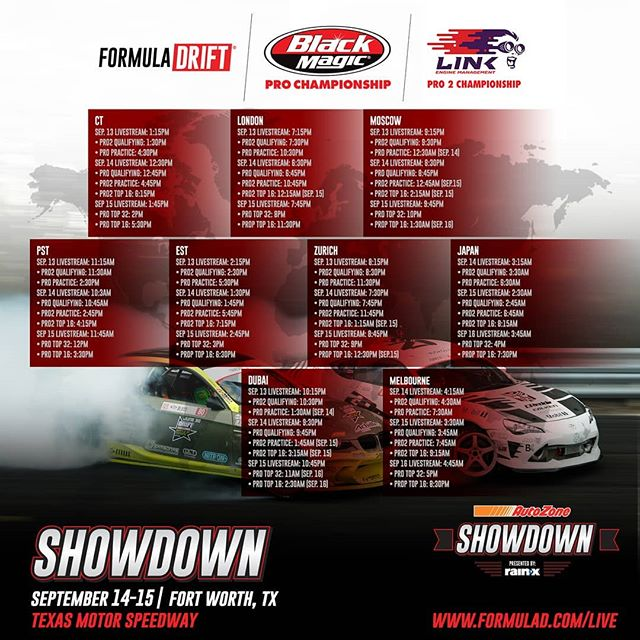 It's about to go down! Catch @autozone RD7: SHOWDOWN presented by @OfficialRainX in Fort Worth, TX & around the world starting today!  Watch the Action Live: bit.ly/FD2018Live  September 13 at [11:15 AM PST | 2:15PM EST]