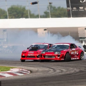 Seeing Red @olajaeger | @nexentireusa vs. @travisreeder | @achillestire Eyes on the prize for Pro 2 drivers at @autozone RD7: SHOWDOWN presented by @OfficialRainX in Fort Worth, TX on Sept. 14-15. Tickets: (link in bio) #FormulaDRIFT #FormulaD #FDXV #FDTX