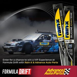 Drift to the Edge with NEW @OfficialRainX Silicone AdvantEdge wiper blades and @AdvanceAutoParts! Enter for a chance to win a trip & VIP experience at a 2019 Formula Drift Race. Offer valid 9/27/18 – 12/26/18 www.rainxsiliconewipers.com #FormulaDRIFT #FormulaD #FDXV